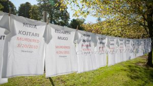 Fearless! Hudson Valley recognized Domestic Violence Awareness Month by displaying its Clothesline Project at the County Government Center in Goshen on Friday, October 1, 2021. HUDSON VALLEY PRESS/ Chuck Stewart, Jr.