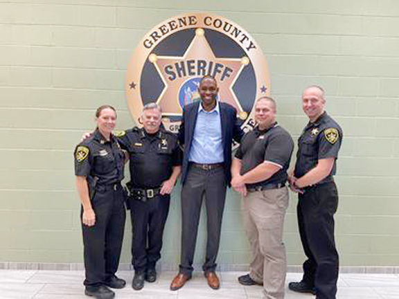 U.S. Representative Antonio Delgado (NY-19) met with Greene County Sheriff Peter Kusminsky, Undersheriff Adam Brainard, Captain Tracey Quinn, and Lieutenant Michael Overbaugh. The Congressman and law enforcement officials discussed how they are engaging with the community, legislative issues, and the need for additional staff and support.