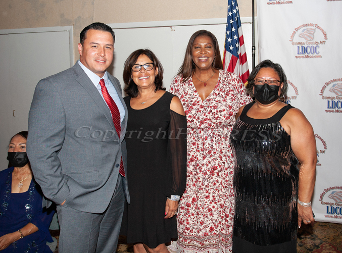 New York State Attorney General Letitia James (second from right) with Honorees Edwin Ramirez, Jr., Norma Ramirez, and Cándida Bidó during the Latino Democratic Committee of Orange County annual Fall Dinner Dance on Saturday, October 2, 2021 at Cafe Internationale at The Ramada. HUDSON VALLEY PRESS/ Chuck Stewart, Jr.