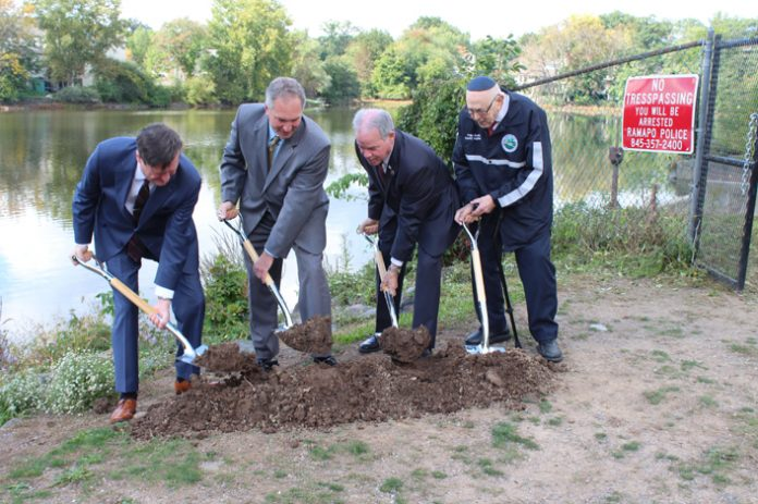 Rockland County Executive Ed Day, Executive Director of the Rockland County Drainage Agency Vince Altieri, County Legislator Phil Soskin and Town of Ramapo Supervisor Michael Specht broke ground on the $1.5 million Lake Suzanne Dam Upgrade project.