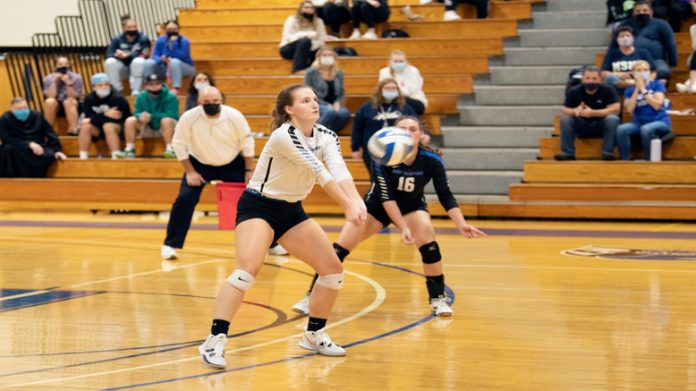 Jackie Wolf put away 10 winners as the Mount Saint Mary College Women's Volleyball team suffered its fourth straight loss on Saturday afternoon.