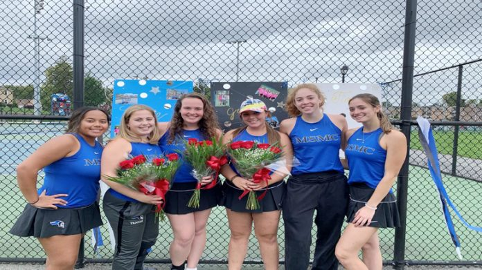 The Mount Saint Mary College Women's Tennis team closed out the home schedule on Saturday with a 9-0 loss to league rival Farmingdale State on Senior Day.
