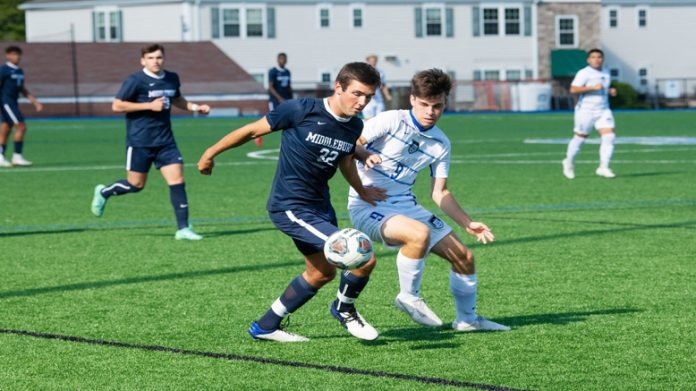 The Mount Saint Mary College Men's Soccer team moved its unbeaten streak to four (3-0-1) on Sunday afternoon following a tough 1-0 victory over Yeshiva. Connor Doyle scored his 10th goal of the season for the only scoring in the game.