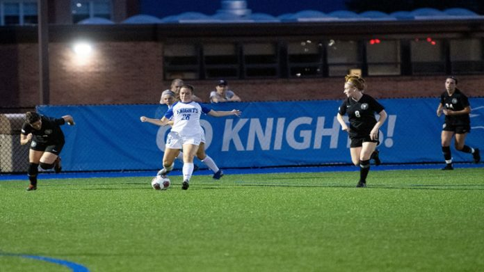 The Knights got all the scoring it needed early on Saturday when Nikki Carter potted her first of the season in the third minute. The Mount Saint Mary College Women's Soccer team scored a 6-0 road victory at Maritime Saturday night.