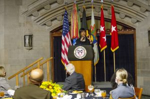 Mae C. Jemison, the 2021 Thayer Award recipient, offers remarks after accepting the Thayer Award in Washington Hall during the Thayer Award Banquet on October 7, 2021. Photo: USMA