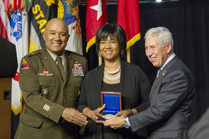 Mae C. Jemison, the 2021 Thayer Award recipient, accepts the Thayer Award in Washington Hall at the United States Military Academy during the Thayer Award Banquet on October 7, 2021. Photo: USMA